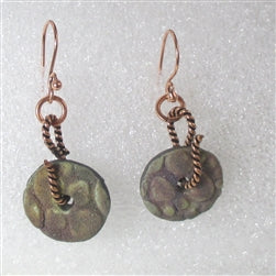 Buy copper & matter Raku glazed  artisan handmade raku  bead drop earrings
