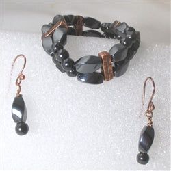 Buy magnetic hematite gemstone & copper bracelet & earrings