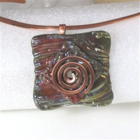 Buy handmade designer choker dark green raku pendant with copper spiral bail on a copper neck wire