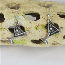 Happy New Year Martini Glass Charm Earrings