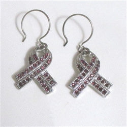 Sparkly purple rhinestone ribbon awareness earrings