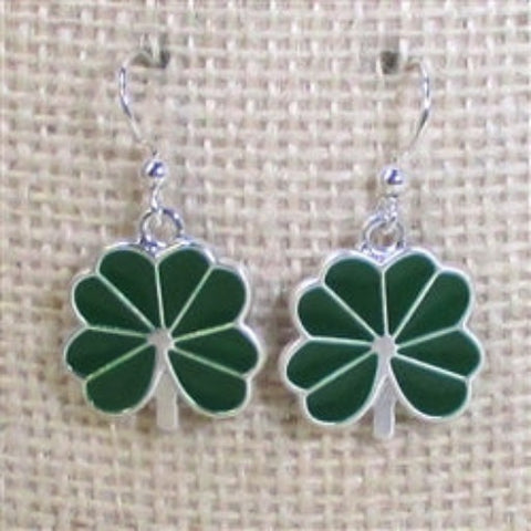 St. Patrick Day green clover earrings