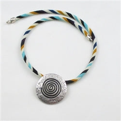 Buy big silver pendant on multi-colored leather necklace