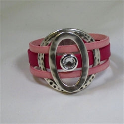 Buy handcrafted bold pink leather cord cuff bracelet