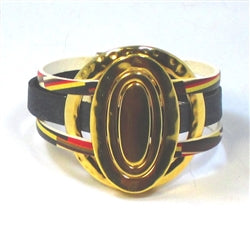 Handcrafted black leather cuff bracelet with gold ring accents