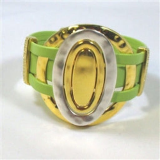 Buy handcrafted Mexican key lime leather cuff bracelet with silver & gold  ring accents