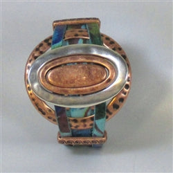Handcrafted watercolr turquoise floral leather cuff bracelet with silver & copper ring accents