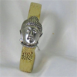 Buy Gold leather bracelet with a silver Buddha clasp