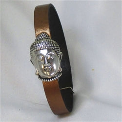 Buy Copper leather bracelet with a Buddha clasp