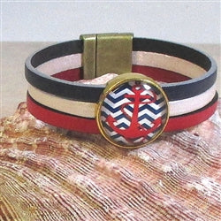 Sporty red white & blue leather bracelet with anchor focus