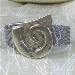 Affordable mesh cuff bangle  bracelet with large Greek spiral focus