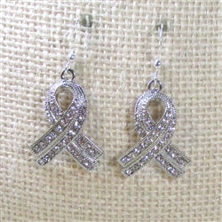 Sparkly crystal rhinestone ribbon awareness earrings