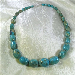 Splendid classic big turquoise necklace in rare Halley's comet turquoise