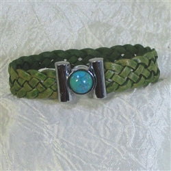 buy Olive braided leather bracelet