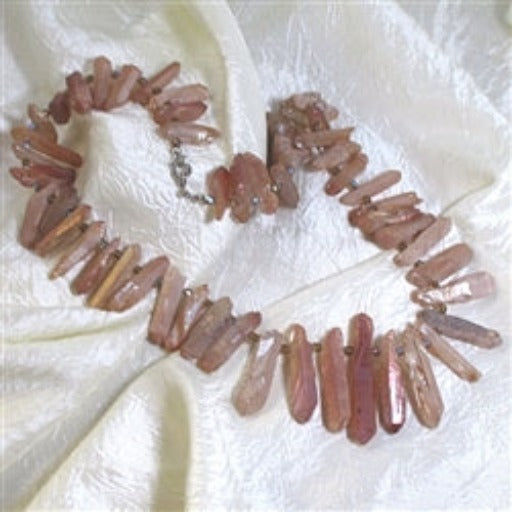 Rustic pink quartz tusk shaped necklace