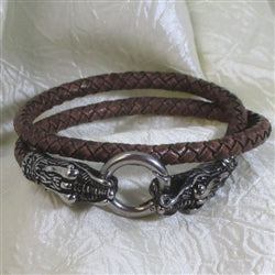 Alligator head clasp brown braided leather bracelet