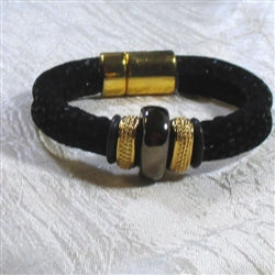 Buy sparkly black metallic leather  cord with a handmade Kazuri accent