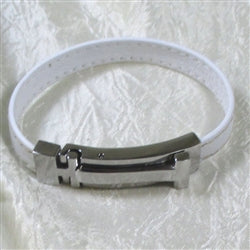 Buy classic white leather braclet with shinny silver clasp