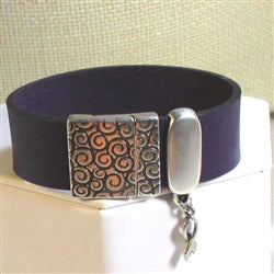 Purple awareness leather cuff bracelet Domestic Violence or Alzheimer's Disease