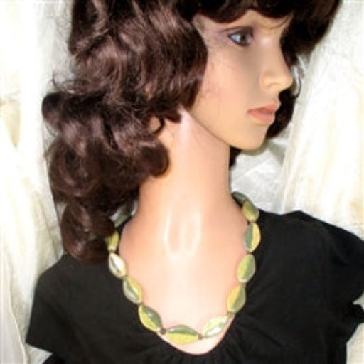 Buy handmade green Kazuri fair trade bead necklace