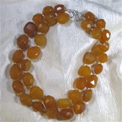 Big Bold Chunky Nugget Necklace Double Strand Yellow Agate Bead