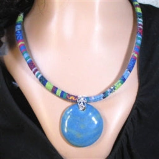 Buy handmade Fair trade kazuri pendant on blue and green cotton cord necklace