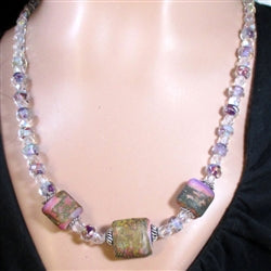 Buy pink handmade and crystal beaded necklace for a woman