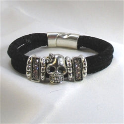 Buy Sparkly black metallic cord with a day of the dead skull bracelet