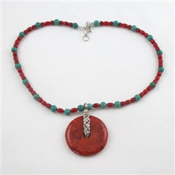 Buy handcrafted turquoise & coral bead necklace with coral bead pendant