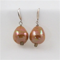 Buy handmade tangerine pearl finished  Kazuri Earrings