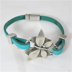 Handmade  aqua orphan  leather bracelet