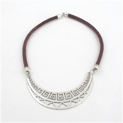 Buy unique combo of sparkly cord in maroon with a bold tribal statement silver focus