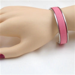 Buy pink leather  cuff bracelet
