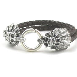 Buy man's brown braided leather double skull clasp bracelet