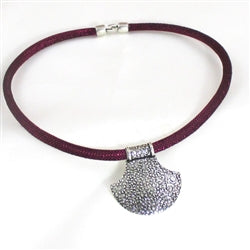 Buy Silver pendant on maroon sparkly cotton cord necklace