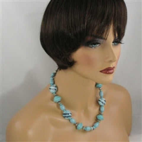 Buy aqua fair trade bead necklace Kazuri & paper