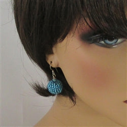 Beaded Bead Turquoise Blue Earrings