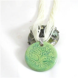 Tree of life green pendant on a long pearl whote multi-strand necklace pendant necklace