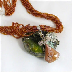 Multi-stone jasper pendant on a long sandstone multi-strand necklace pendant necklace