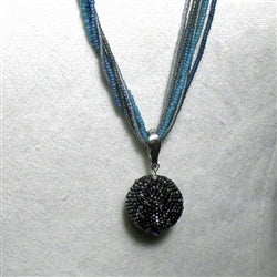 Buy long blue beaded bead pendant necklace