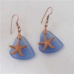 Buy gblue sky seaglass earring on copper ear wires
