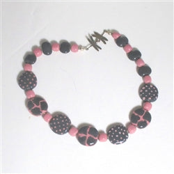Buy Fair Trade pink & grey Kazuri bead necklace