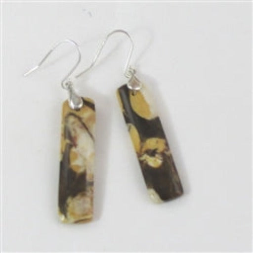 Handcrafted designer cut brown peanut wood gemstone drop earrings