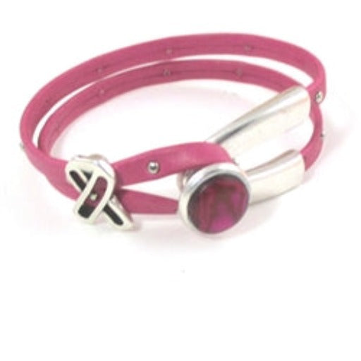 Pink  Awareness Bracelet Wishbone Design