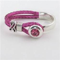 Bright pink half leather half silver cuff awareness bracelet