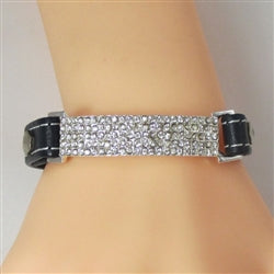 Sparkly Rhinestone & Leather Bracelet