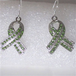 Buy sparkly green rhinestone ribbon awareness earrings