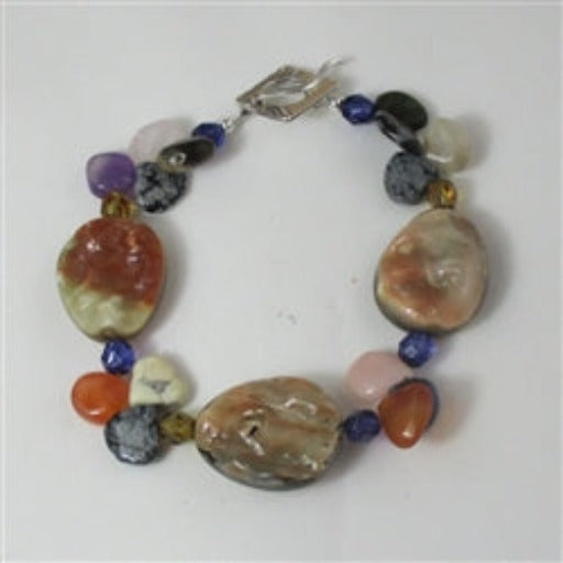 Buy mixed gemstone & abalone shell bracelet