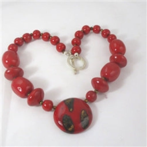 Buy Fair Trade Big Bold Bright Red Kazuri Necklace Handmade