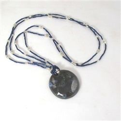 Dark Navy Blue Kazuri Big Pendant on Navy Zulugrass Necklace